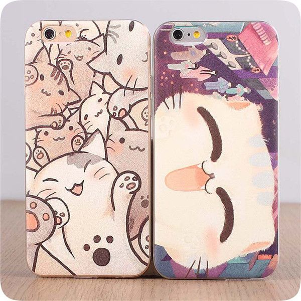 Joyful Japanese anime kitty Cat soft silicone iphone 6 6 Plus 5 5S 5C... ($16) ❤ liked on Polyvore featuring accessories, tech accessories, silicon iphone case, silicone animal iphone cases, silicone iphone case, iphone cases and cat iphone case