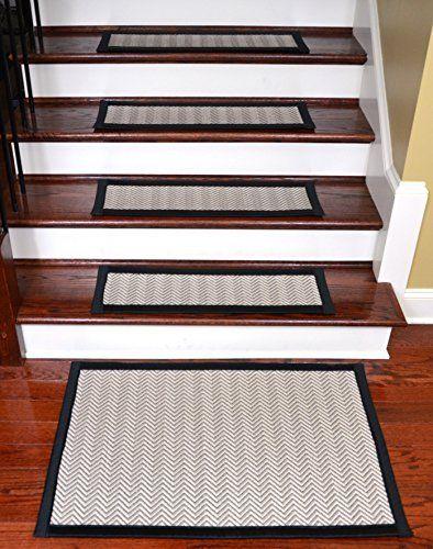 Dean Non-Slip Tape Free Pet Friendly Dog Helper Stair Gripper Hatteras Flatweave Carpet Stair Treads - Chevron Beechwood/Black 29W (15) Plus a Matching 2' x 3' Landing Mat