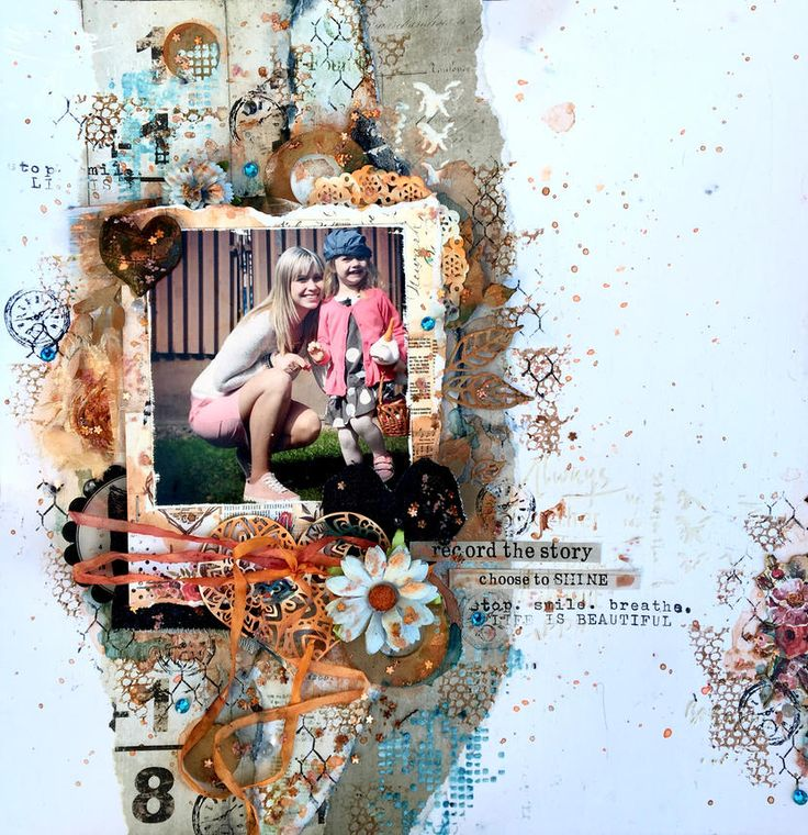 Mixed media layout by Bea Mucsi