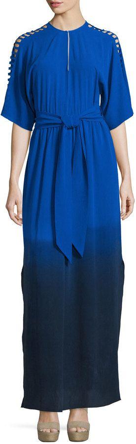 Foundrae Short-Sleeve Dip-Dyed Silk Maxi Dress