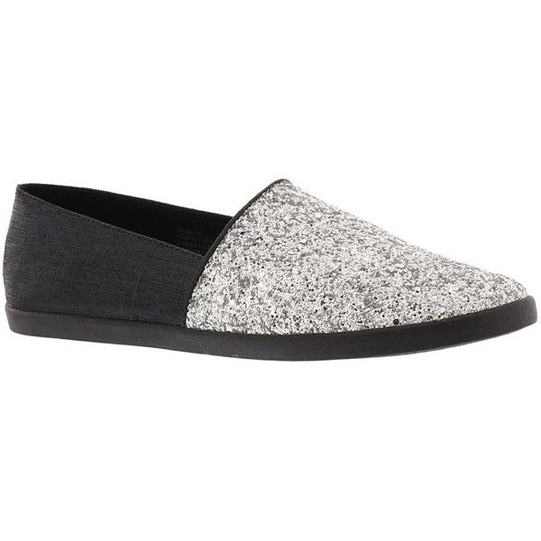 Yellow Box Parkon Women's Silver Slip On (£38) ❤ liked on Polyvore featuring shoes, silver, sparkly flat shoes, silver flats, sparkly shoes, slip-on shoes and glitter shoes