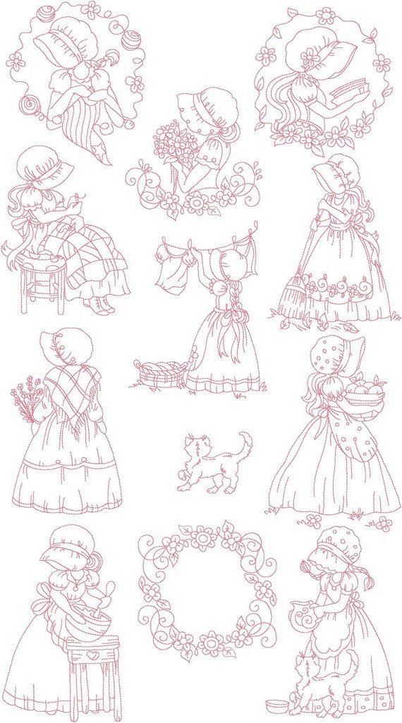SALE Instant Digital Download Set 5X7 SunBonnet Girls Sun Bonnet Sue Machine Embroidery Designs