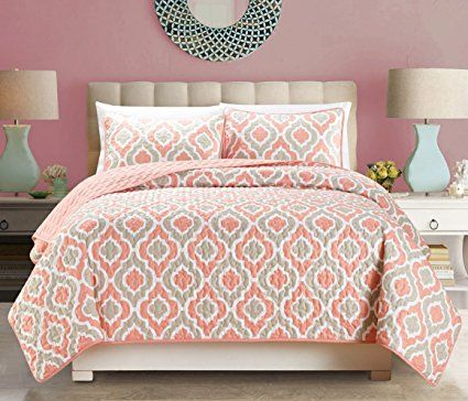 "3-Piece Fine printed Oversize (100"" X 95"") Quilt Set QUATREFOIL Reversible Bedspread Coverlet FULL / QUEEN SIZE Bed Cover (Pink, Off-White, Coral, Grey)"