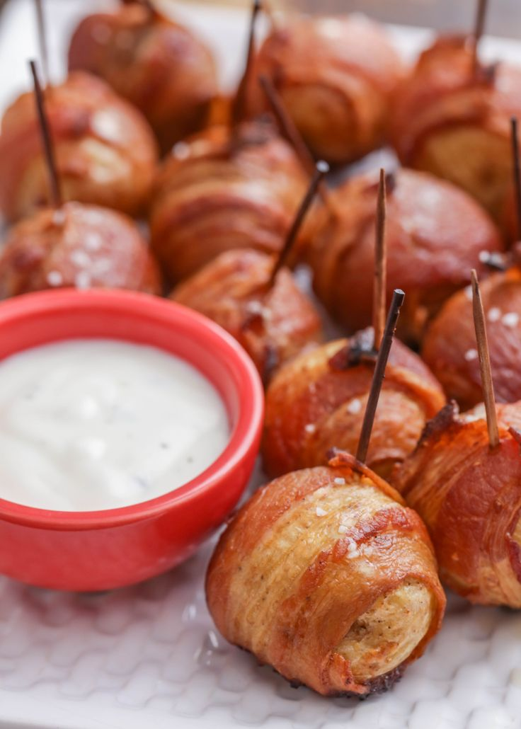 Bacon Wrapped Potatoes - a delicious appetizer combing two favorite ingredients - bacon and potatoes perfect with ranch.