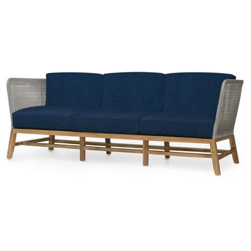 Serena is the epitome of modern, minimalist style. The crisp lines and finely woven rope body is an update to the traditional outdoor sofa. The plantation teak wood frame is a beautiful warm honey tone that offsets the sleek grey. This is the perfect piece for romantic nights outdoors.