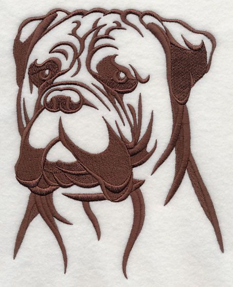 Bull Mastiff dog silhouette  embroidered fabric quilt square, other breeds are available, just ask.