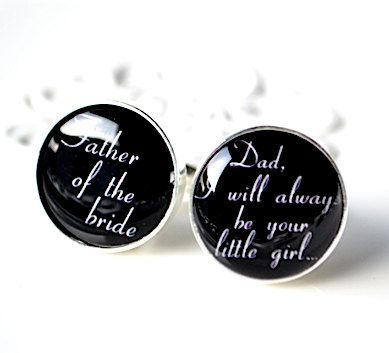 Original Father of the bride I will always be your little girl script font cufflinks by White Truffle - Gift for your father. $42.00, via Etsy.