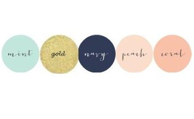 mint, gold, navy, coral accents