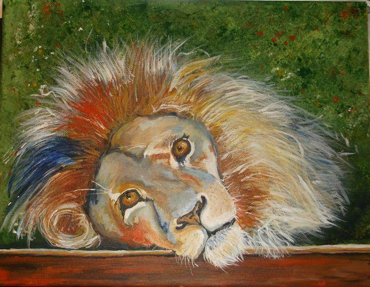 Original acrylic painting lion resting animals jungle cats ...