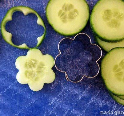 Very cute cucumber decoration for Pimms.