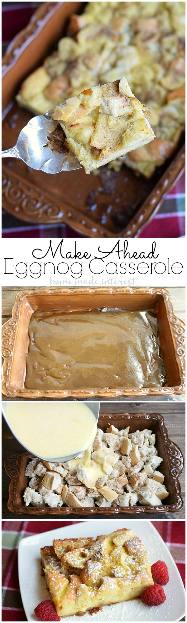 This make ahead egg nog french toast is a breakfast casserole that has all of the flavors of the holiday drink we all love, egg nog. A simple breakfast casserole recipe that is perfect for holiday breakfast or brunch. (Fall Baking French Toast)