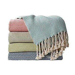 "Herringbone Throw - Autumn  100% cotton. Made in the USA. Machine wash. 50"" x 72"". (Item # THR02-08) $250"