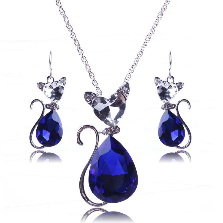 Yazilind Vogue Silver Plated Royal Blue Pear Crystal Cat Pendant Chain Necklace Earrings Set: