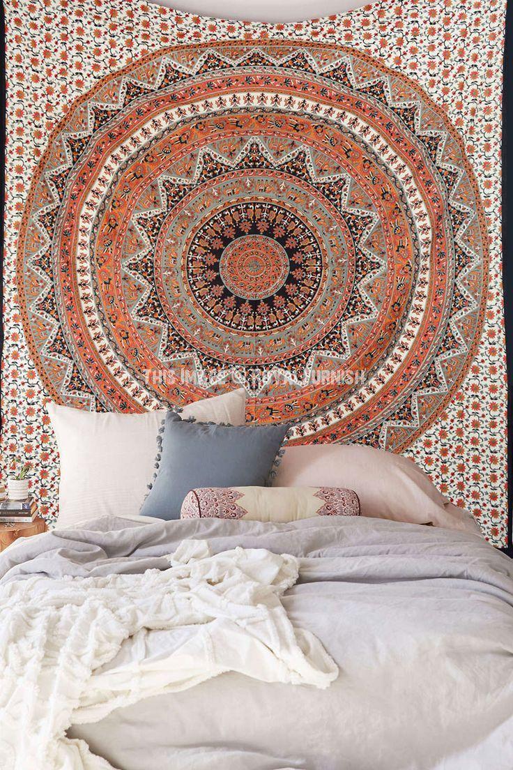 Red Bohemian Mandala Indian Bedspread Tapestry Kerala Tapestry