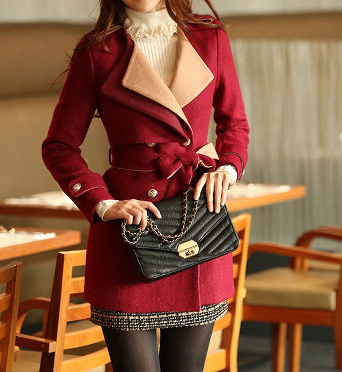 Fashion Scoop Neck Belted Thickened Double-Breasted Long Sleeves Slimming Blended Coat (BLACK,L) | Sammydress.com