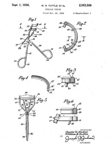 An eyelash curler is a hand-operated mechanical device for curling eyelashes for cosmetic purposes. The earliest patent for an eyelash curler was filed on August 15, 1929 and issued to William E. McDonell and Charles W. Stickel of Rochester, New York on April 7, 1931