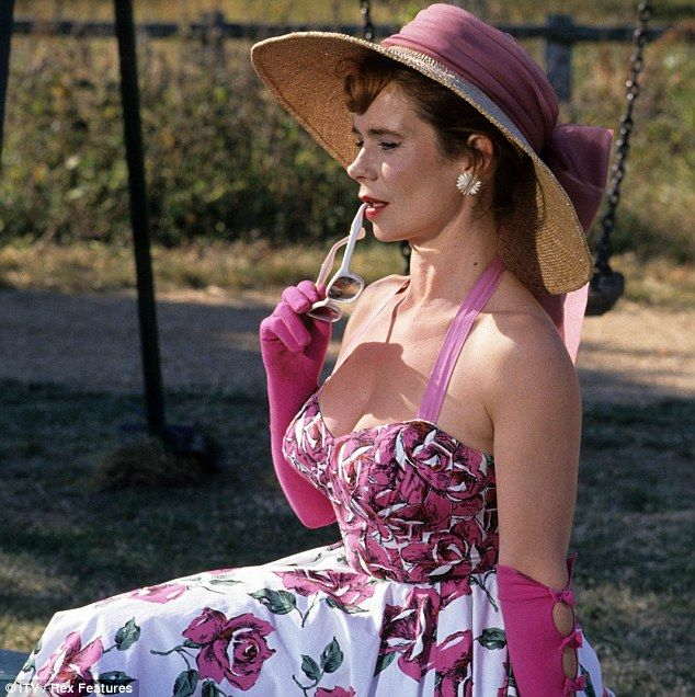 Celia Imrie. Pink rose bombshell dress