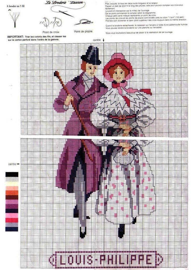 0 point de croix mode femme homme époqie Louis Philippe  - cross stitch fashion lady gentleman Louis Philippe era