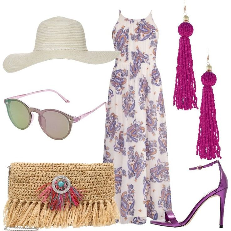 Il vestito bianco è lungo fino alle caviglie con stampe sui toni del lilla e del viola. Sulle stesse tonalità anche gli orecchini con pendenti di perline, la montatura degli occhiali da sole e i sandali, con tacco a spillo . La pochette con frange e catenella è, invece, in paglia, come il cappello da sole che richiama, nel colore chiaro, il fondo del vestito.