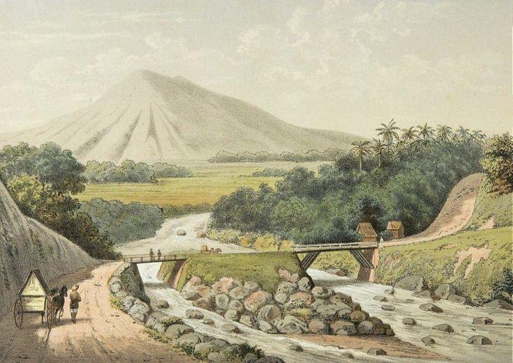 Josias Cornelis Rappard - Jembatan kembar di sungai Kedungbadak, Tanah Sareal, Bogor