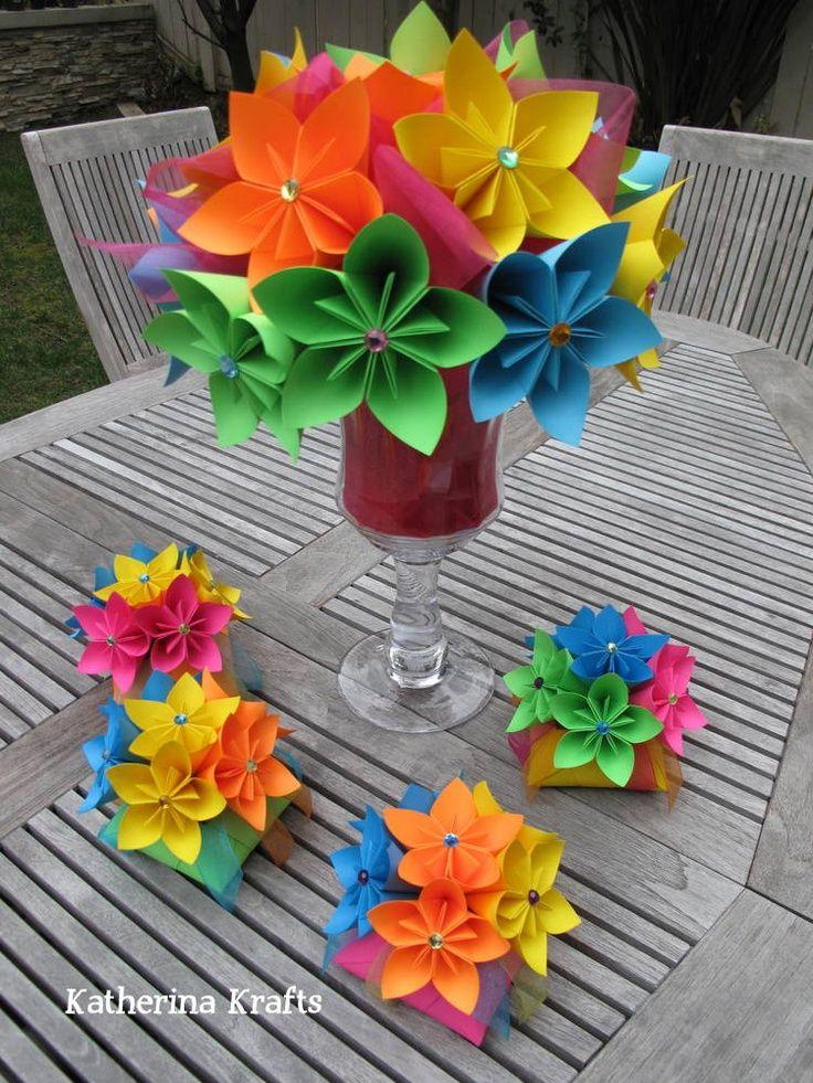 Rainbow Wedding Centerpieces | Large Rainbow Flower Centerpiece - $80.00