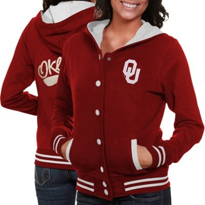 Oklahoma Sooners Ladies Crimson Varsity Blues Full Button Hoodie Sweatshirt #FanaticsWishList @Fanatics ®