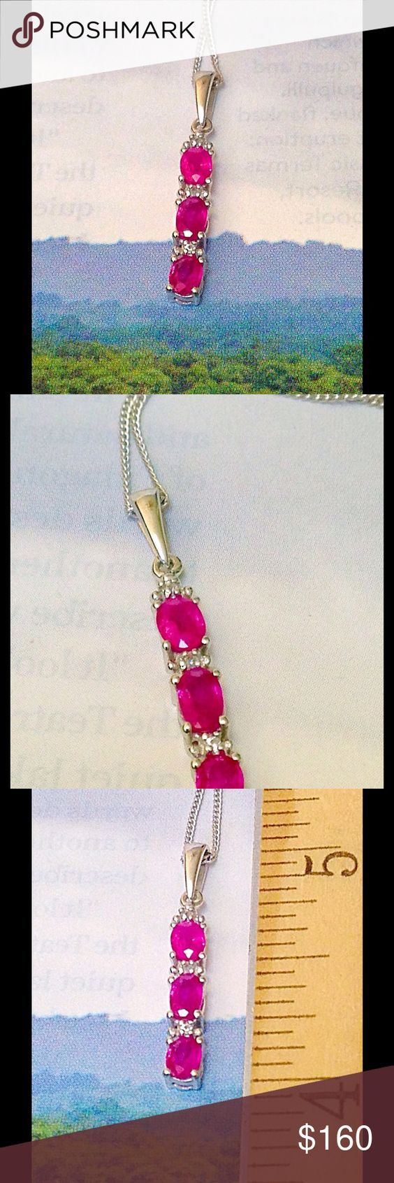"""Burmese Ruby Pendant """"King of Rubies"""" Burmese Ruby Pendant With Chain (20 in) Done in Platinum Over .925 Sterling Silver Nickel Free accented with White Zircon. TGW .95 CTs. Historically Burma (modern-day Myanmar) was a leading producer of rubies for ages. Burmese rubies typically form in deposits of marble. However, years ago the exportation of Burmese Ruby was halted. The exportation was just recently lifted and jewelers are going crazy, as are the prices. Jewelry Necklaces"""