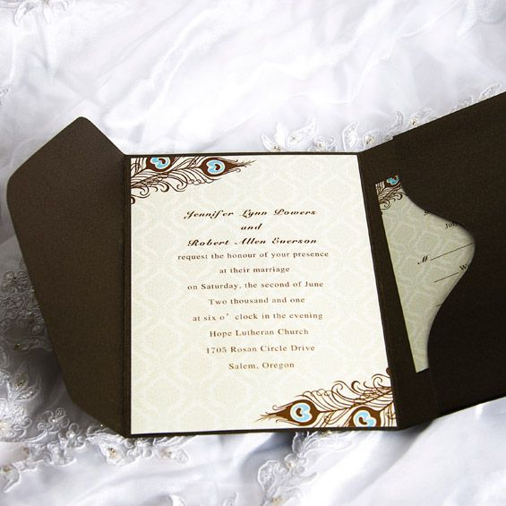 cheap peacock wedding pocket invitations with free response cards