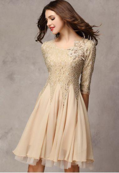Khaki Half Sleeve Lace Bead Chiffon Dress - Sheinside.com