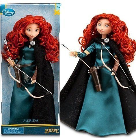"""Disney Store Exclusive 11"""" Classic Doll Brave Princess Merida by Disney. $18.95. With her bow fastened on her waist and arrow in hand, skilled archer Merida is ready to embark on ambitious adventures. Revisit the epic story of Disney/Pixar's Brave with Disney's Classic Merida doll."""
