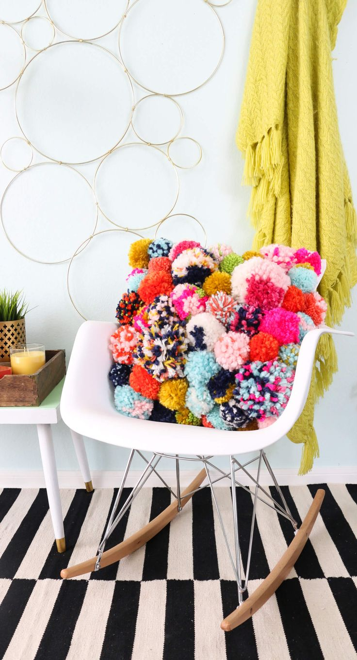 331 best affordable furniture and home decor images on pinterest diy pom pom pillow fun diy home decor project for fall yarn pom pom trendy pillow throw pillow diy how to make your own pillow how