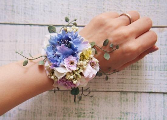 カラフルなお花とツタの花冠&リストレット2点SET - 大人可愛い花冠 ブライダル・ウェディング 【アルモニ】