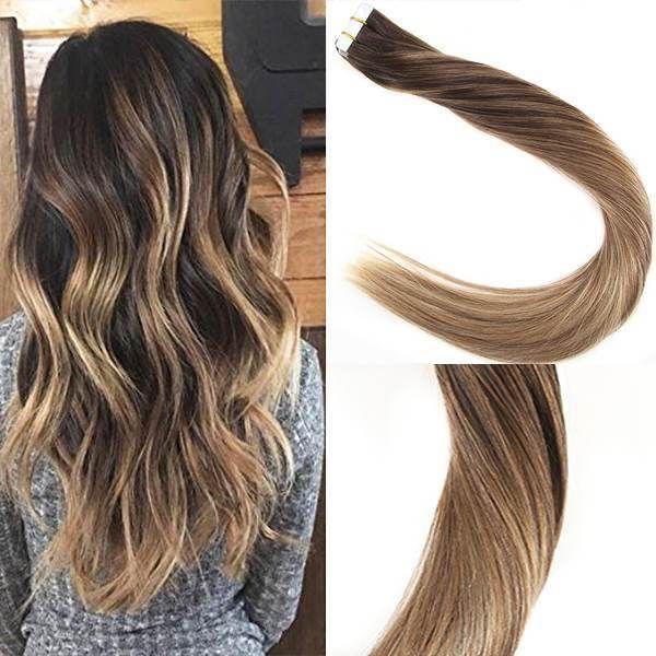 Tape In Balayage Brown Highlighted Medium Blonde Human Hair