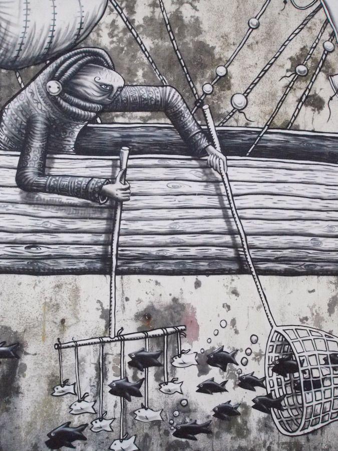 Best StreetArt By PHLEGM Images On Pinterest Urban Art - Awesome mechanical shark mural phlegm