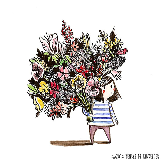 Watercolor and ink illustration of a shy girl hiding behind a huge bouquet of flowers. Prints available on society6. Renske de Kinkelder