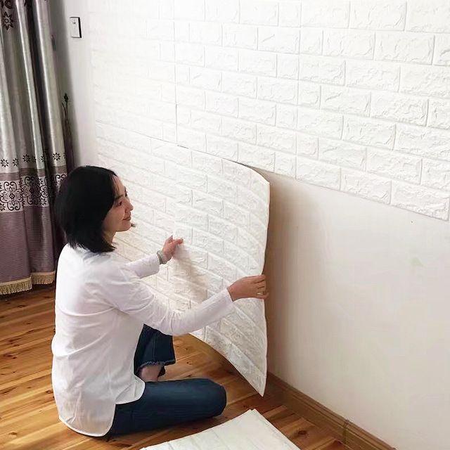 Brick Pattern 3D Wall Stickers Brick Wallpaper Decoration Room Self-Adhesive Waterproof Retro Brick Pattern