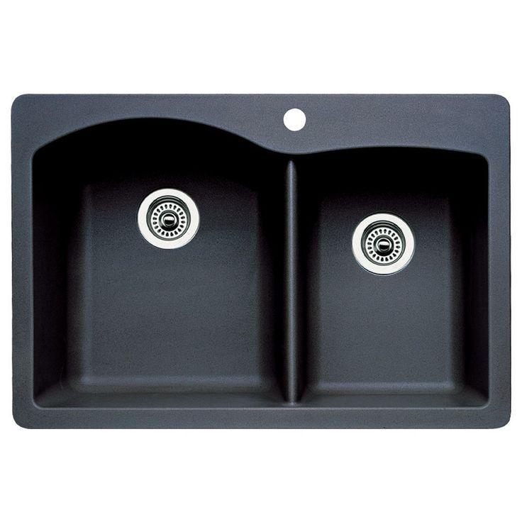 Blanco 440215 Diamond Double Basin Drop In Or Undermount Granite Kitchen Sink Anthracite