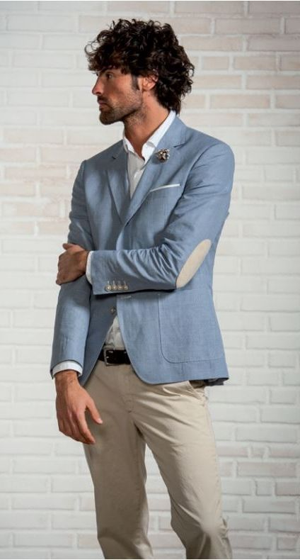 Unlined cotton and linen jacket with patches john barritt. A cooling summer look.