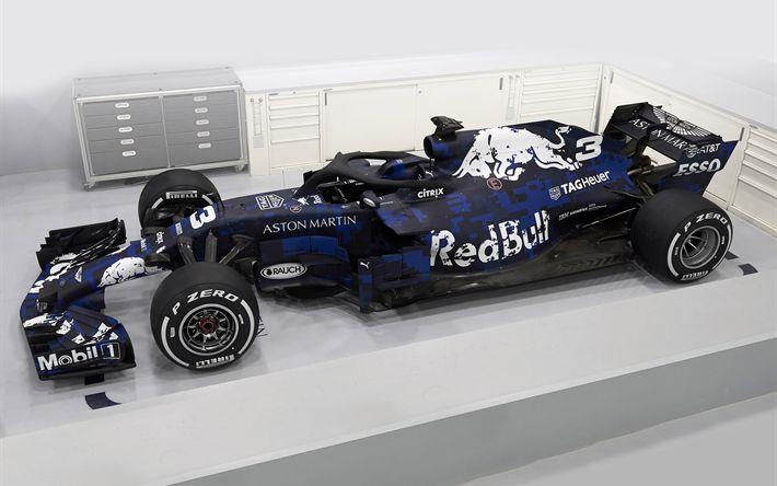Download wallpapers Red Bull RB14, 2018, Formula1, racing car, Red Bull Racing, RB14, F1, garage