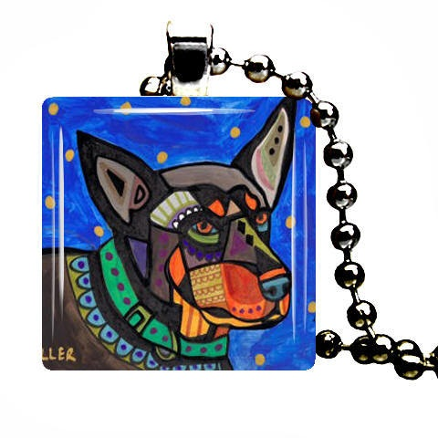Australian Kelpie Art Jewelry Pendant Dog Tag Charm Necklace Heather Galler GIFT