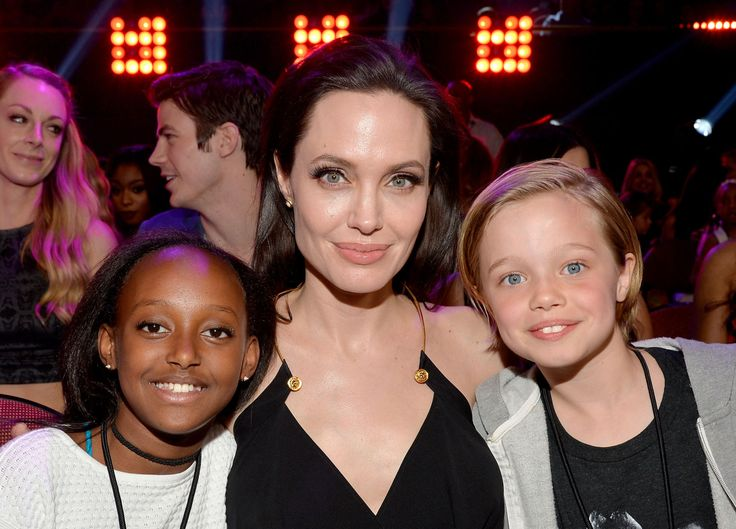 Angelina Jolie's with daughters Zahara and Shiloh