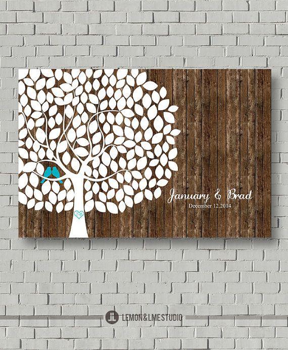 Rustic Wedding Guest Book Wedding Tree by MarshmallowInkLLC