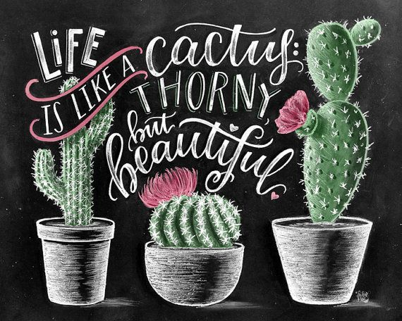 Cactus Print Succulent Print Cactus Art Print Cactus Wall Art Life Is Like A Cactus Cactus Decor Chalk Ar Cactus Art Print Cactus Wall Art Chalkboard Art