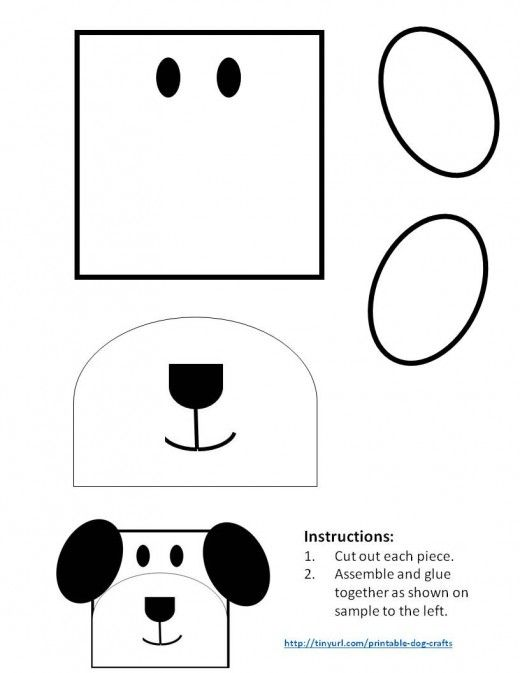 Printable Dog Patterns With Simple Shapes For Kids Crafts Shapes For Kids Dog Crafts Animal Crafts For Kids