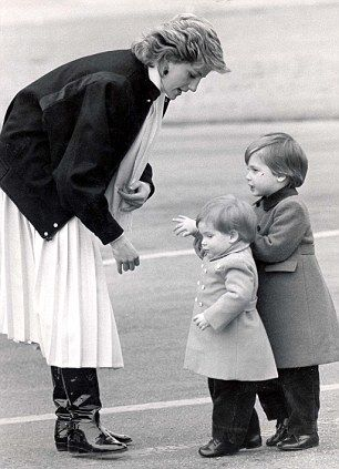 Princess Diana with a three-year-old Prince William and Prince Harry, 18 months, arriving at Aberdeen airport for spring weekend at Balmoral