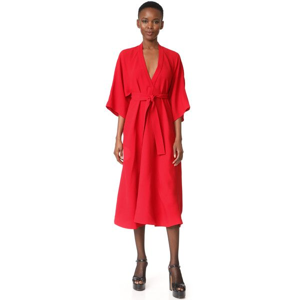 Tome V Neck Shirtdress ($655) ❤ liked on Polyvore featuring dresses, red, midi skater skirt, red dresses, red cut out dress, red v neck dress and v neck dress