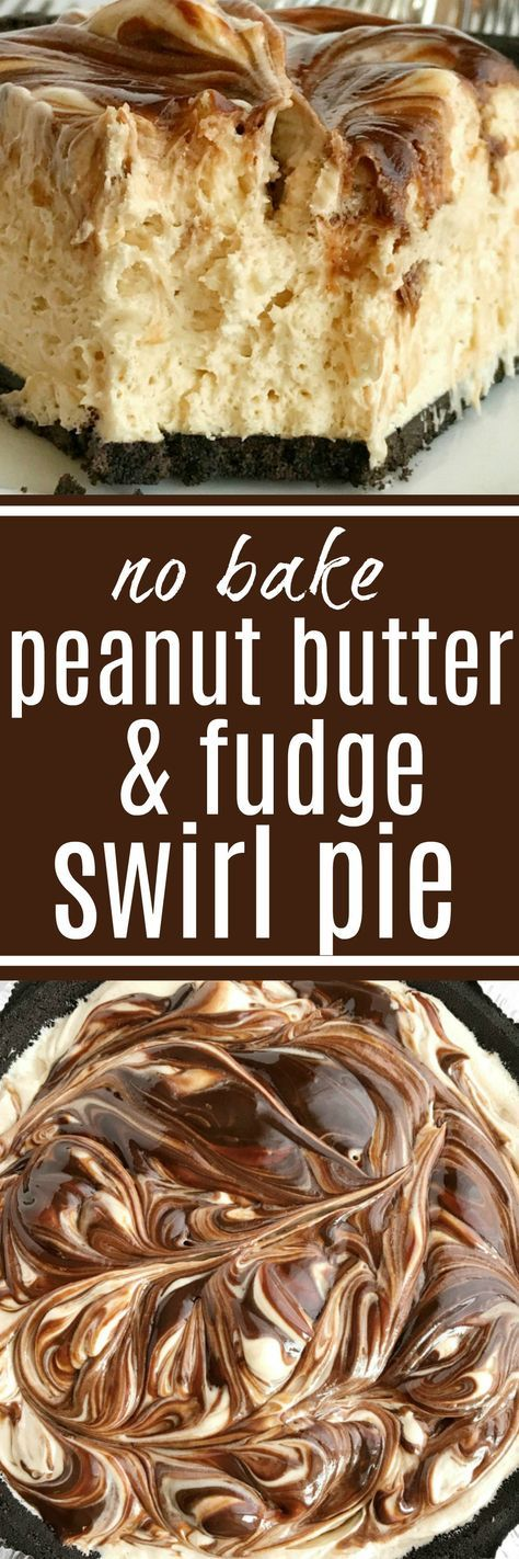 No-bake peanut butter fudge swirl pie if loaded with peanut butter, fudge, and cream cheese inside an easy Oreo cookie crust. So easy to make and the best no bake dessert you will ever eat. If you love peanut butter & chocolate then this pie will become a favorite | www.togetherasfamily.com