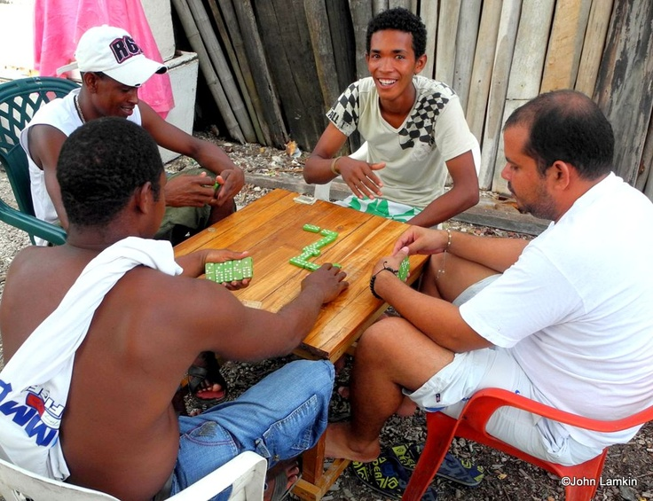 Sunday Dominoes Game - Santa Cruz del Islote, Colombia, South America - the most crowded island in the world - happy people!