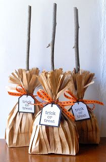 Witch's brooms treat bags. So cute & simple to make. Will probably make them for my daughters's 2nd grade class Halloween Party. & if you don't want to use branches, you could use pretzels instead.