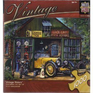 """Vintage Motors 1000 Piece Puzzle By Peter Bradshaw by MasterPieces. $10.95. Measures 19.25"""" x 26.75"""". Great gift for the car lover. Contains 1000 pieces. Artwork of Peter Bradshaw. Beautiful 1000 piece puzzle depicting vintage car and motorcycle by an old country garage."""
